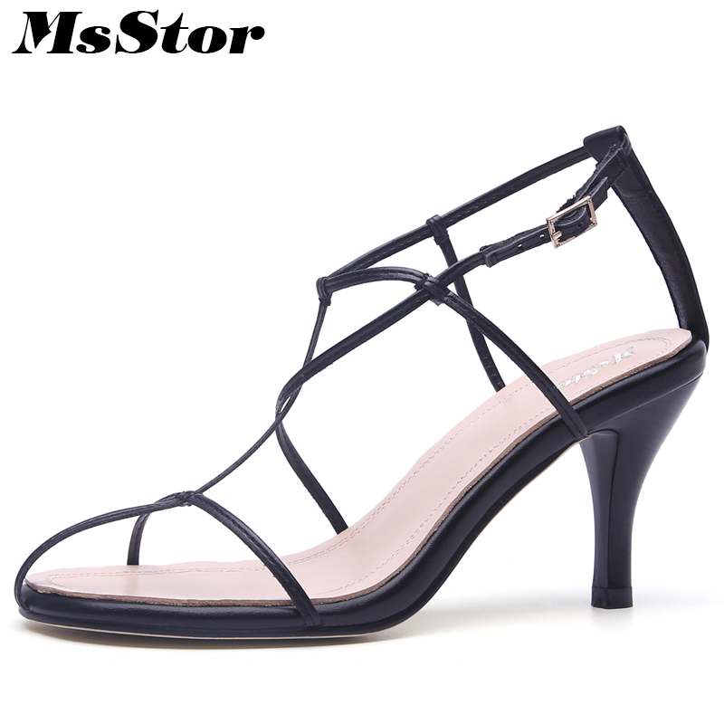 MsStor Round Toe Rome Sandals Shoes Woman Fashion Metal Buckle High Heels Sandalias Mujer Gladiator Sandals Women Shoes Brand 2017 summer woman fashion transparent high heels sandals gladiator sexy buckle strap sandalias mujer ladies shoes z755