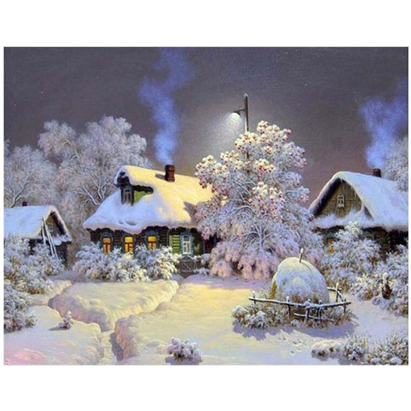 Framed Winter Snow DIY Oil Painting Pictures By Numbers On Canvas Wall Art For Living Room Framed Winter Snow DIY Oil Painting Pictures By Numbers On Canvas Wall Art For Living Room Drop Shipping Home Decoration H357