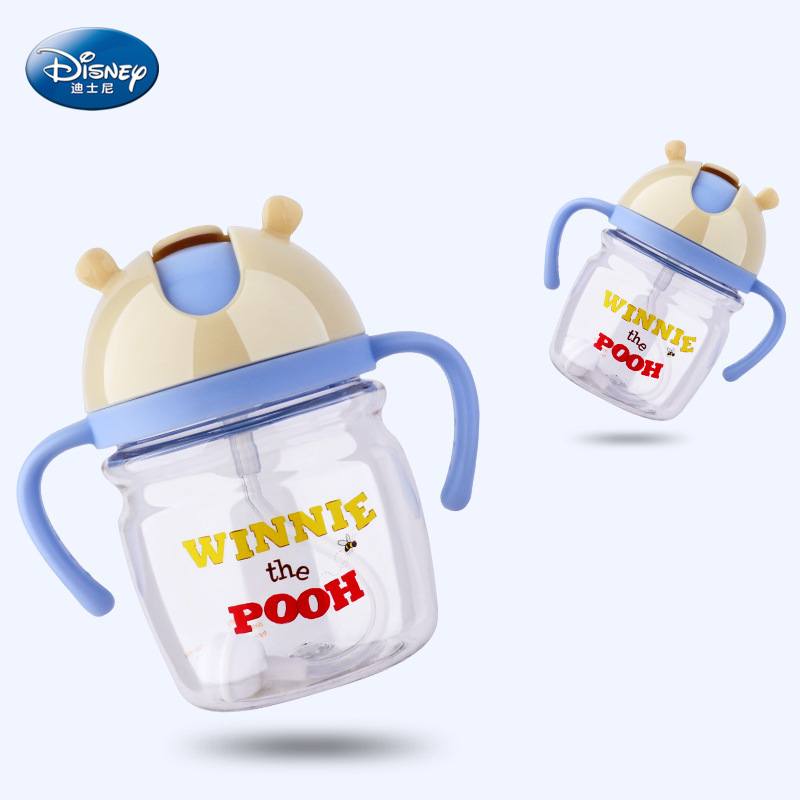 Disney 2018 new cartoon animation cups leak-proof anti-learning drinking cups Winnie-thick infant TRITAN bottle-suction cups eyki h5018 high quality leak proof bottle w filter strap gray 400ml