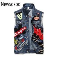 summer style fashion brand Men's denim vest slim Outerwear mens denim Coats jackets casual mens blue luxury Sleeveless vest
