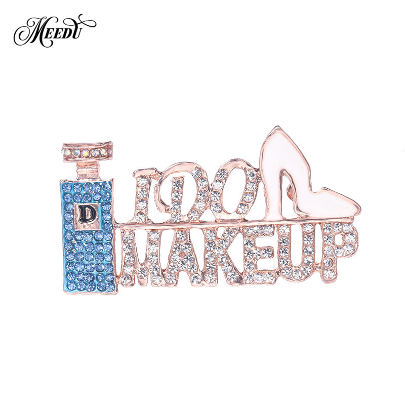 Detail Feedback Questions about MEEDU New Design Letter IDO MAKEUP Crystal  Brooches Ladies Rhinestone Perfume High Heels Shoes Brooch Pins for Women  Party ... ba64372e5a57