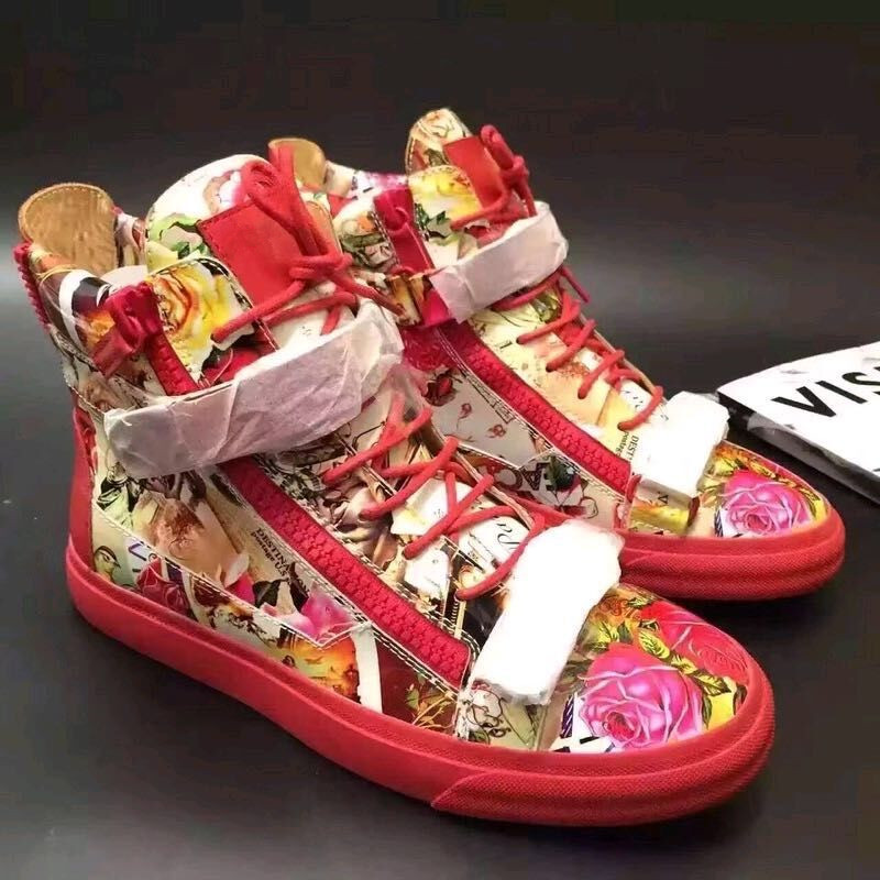 e736201dc1e Beertola Unisex Zipper Sneaker Shoes Flower Figures Print Red Heavy Bottom  High Top Couple Shoes Leather Buckle Sneakers Men