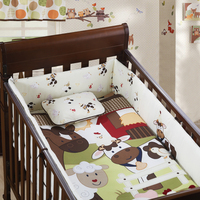 7PCS Embroidery Baby Bedding Set Cot Crib Bedding Set for girls boys cuna ,include(bumper+duvet+sheet+pillow)
