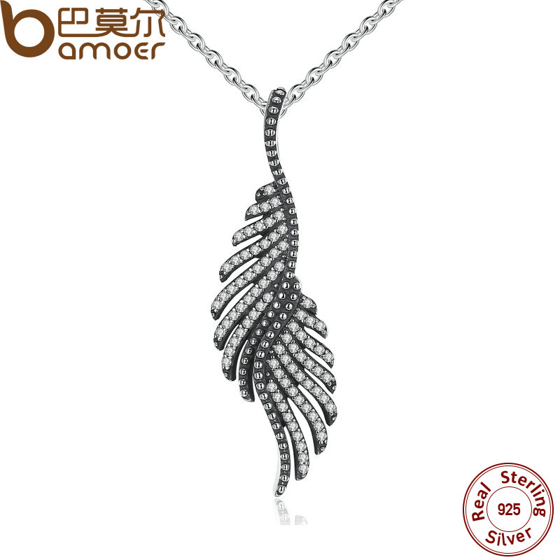 BAMOER New Arrival 925 Sterling Silver Majestic Feathers Pendants Necklaces with Clear CZ Female Fine Jewelry