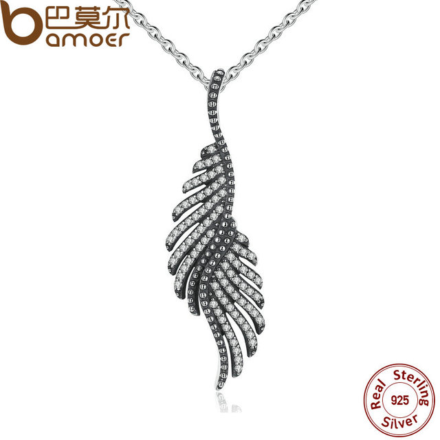 BAMOER New Arrival 925 Sterling Silver Majestic Feathers Pendants Necklaces with Clear CZ Female Fine Jewelry PSN005