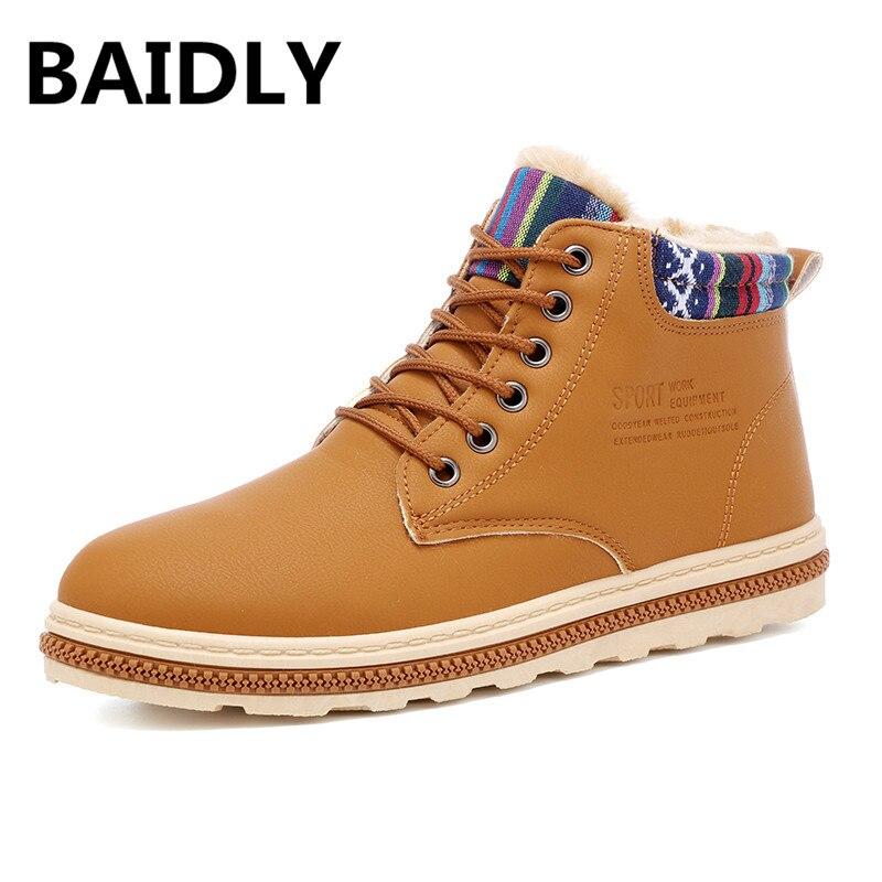 c0807ea39e94e8 La Chaud Cheville Hommes Sneakers bleu Neige Chaussures Plate Bottes khaki  forme Baidly Au Avec Nouveau D'hiver Noir Garder Mode Fourrure Yvq7R