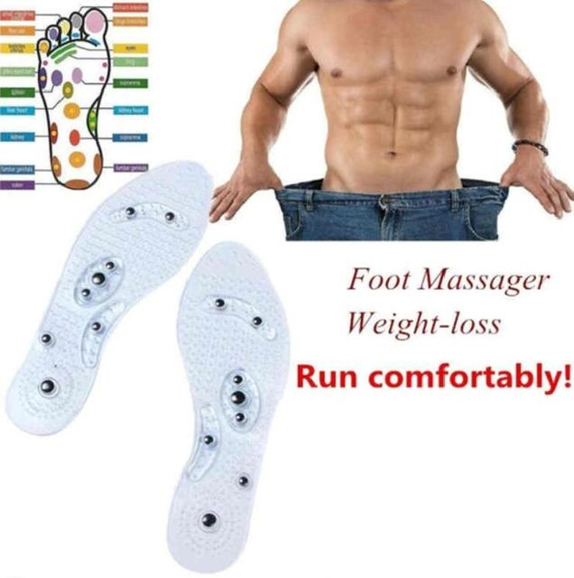 New Men and Women Magnetic Therapy Foot Insole Transparent Silicone Anti-fatigue Health Care Massage Slimming Weight Loss Insole