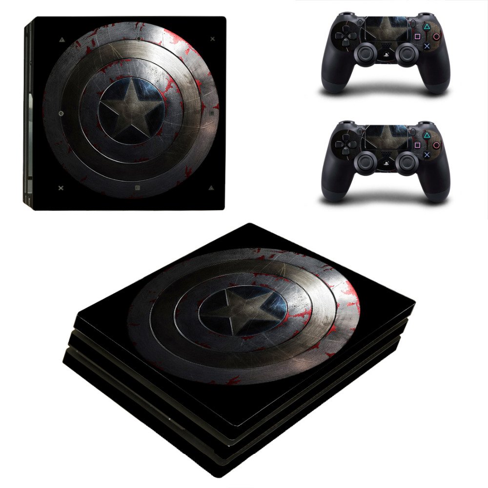 Avengers Captain America PS4 Pro Skin Sticker Decal for Sony PlayStation 4 Console and 2 Controller Skin PS4 Pro Sticker Vinyl
