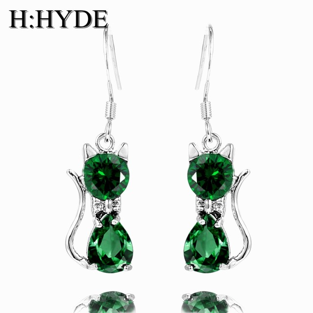 H:HYDE 2pcs=1 pair Silver Color Long Earrings Shiny Cute cat Charm Pendant Earrings for women stud earrings For Christmas gift