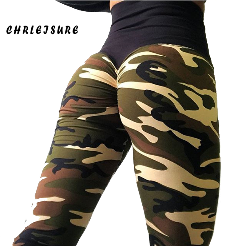 CHRLEISURE High Waist Camouflage print   Leggings   Women Casual Push up Fitness pants Slim Package hip workout   Leggings