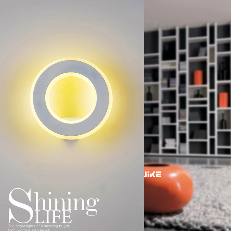 Home Bathroom Led light Modern led ring wall lamp for hallway hotel project bedroom wall sconce led strip mirror light luminaria dhl free shipping 9w with switch led mirror light for hotel bathroom washroom wall spot light 85 240v waterproof led wall light