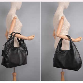 Zency Genuine Leather Fashion Women Tote Bag Mature Handbags Classic Black Half Moon Female Hobo Messenger Bags High Quality