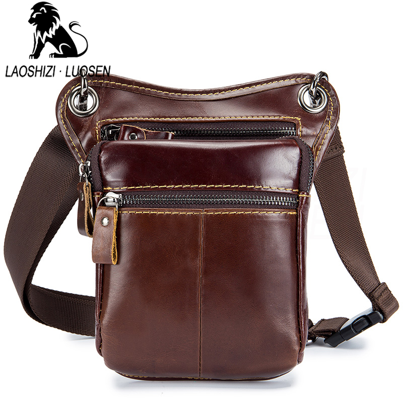 Laoshizi Business Men Genuine Leather Bag Natural Cowskin Men Messenger Bags Vintage Mens Cowhide Shoulder Crossbody Bags Small