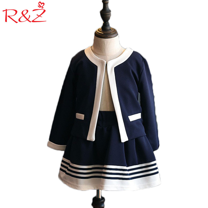 spring Autumn kids Clothes Girls Clothing Set Navy Blue Short Jacket and Skirts Suits Children Formal School Uniform 2016 autumn and spring new girl fashion cowboy short jacket bust skirt two suits for2 7 years old children clothes set