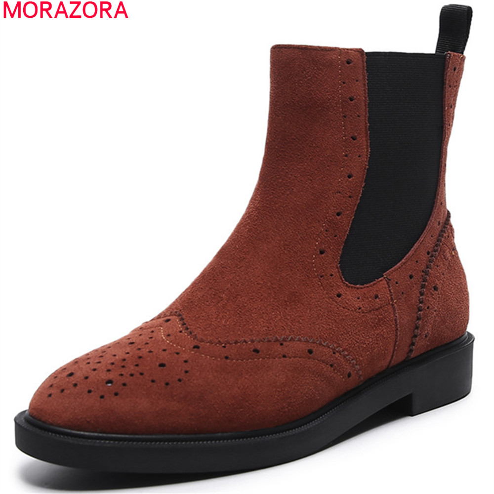 MORAZORA fashion new arrive women boots round toe cow suede ladies boots black brown leather ankle boots low heel shoes xiuningyan flat black ankle boots for women kid suede short boots women female fashion low heel hademade ladies booties 2018 new
