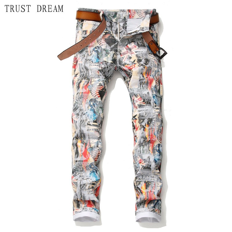 Spring Summer 2019 New Men Print Slim Jeans Energetic Man Floral Pants Handsome Streetwear Club Personal Jeans Real Photos