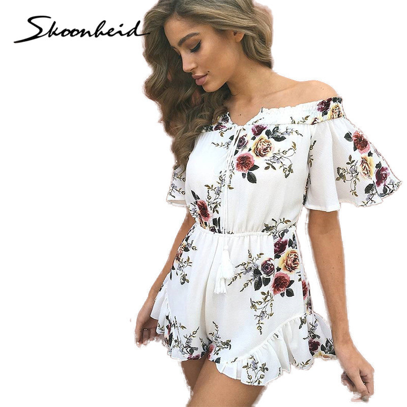 White Chic Ruffles Playsuits Women bodysuit Floral Summer Beach Bohemian Bluz Donna Body Vetement Femme China overalls rompers