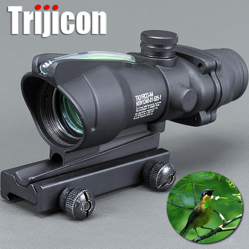 Scope Acog 1x32 Tactical Red Dot Sight Real Green Fiber Optic Riflescope With Picatinny Rail For M16 Rifle Hunting