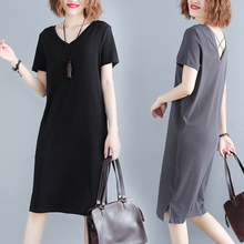 цена Plus size XL XXL 3XL 4XL Women T shirt Dress V-neck Summer Short Sleeve loose Dress Women Casual beach party big sie dress