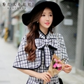 dabuwawa vintage black plaid small shawl jacket cape autumn and winter jacket pink doll pink doll