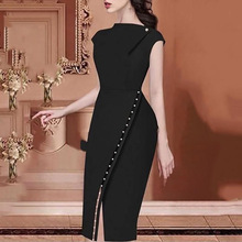 Fashion 2019 Women Elegant Casual Office Dress Irregular Slit Party Solid Button Beading Midi