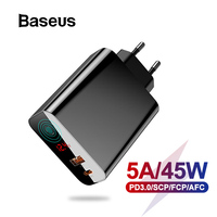 Baseus 45W LCD Display USB Charger with Quick Charge 4.0 3.0 For Redmi Note 7 QC3.0 PD Fast Phone Charger For iPhone X XR Xs Max