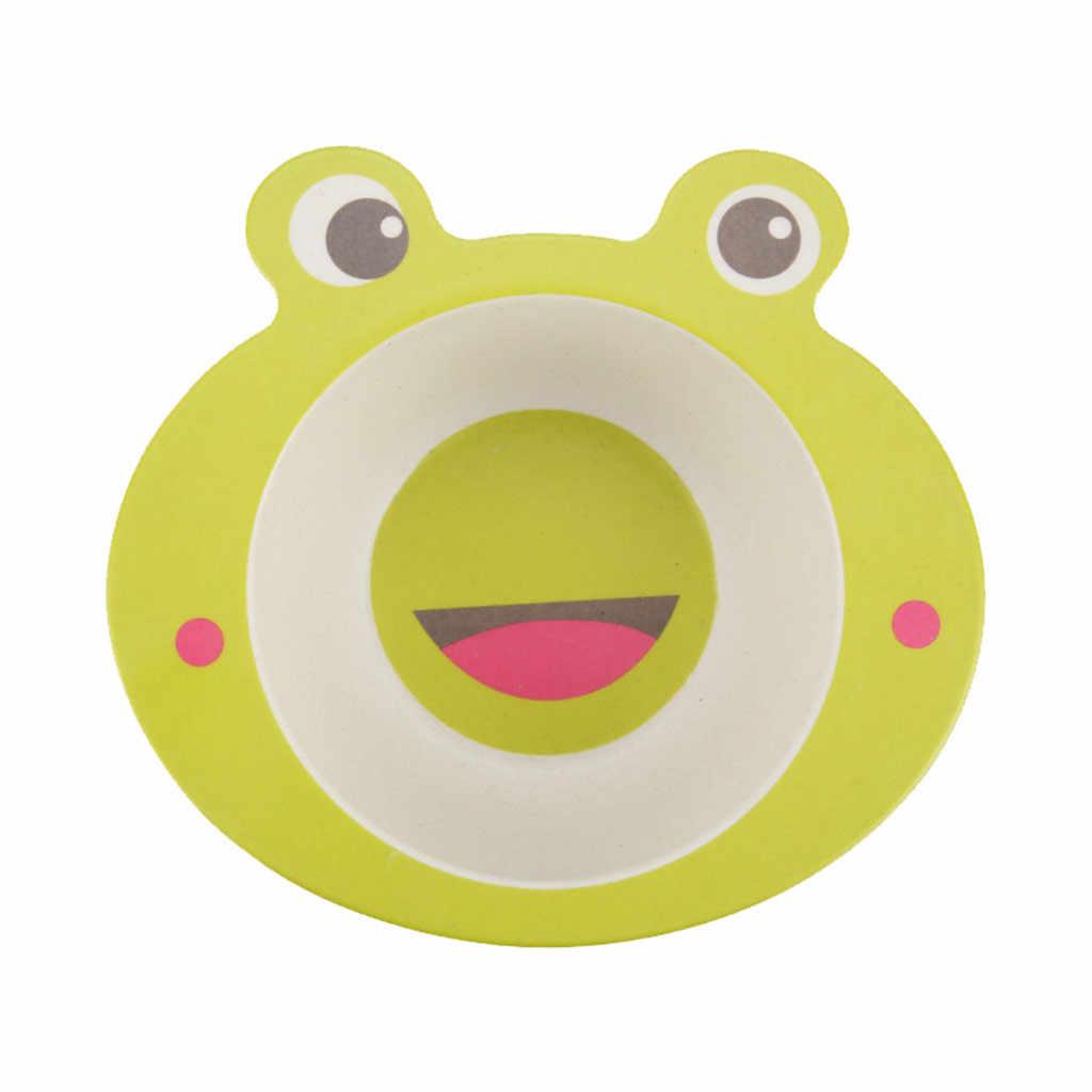 ไม้ไผ่เด็กการ์ตูนชามป้องกันสิ่งแวดล้อมช้อนส้อมเด็กสัตว์อาหารเด็กชุดอาหารแบบพกพาแผ่น