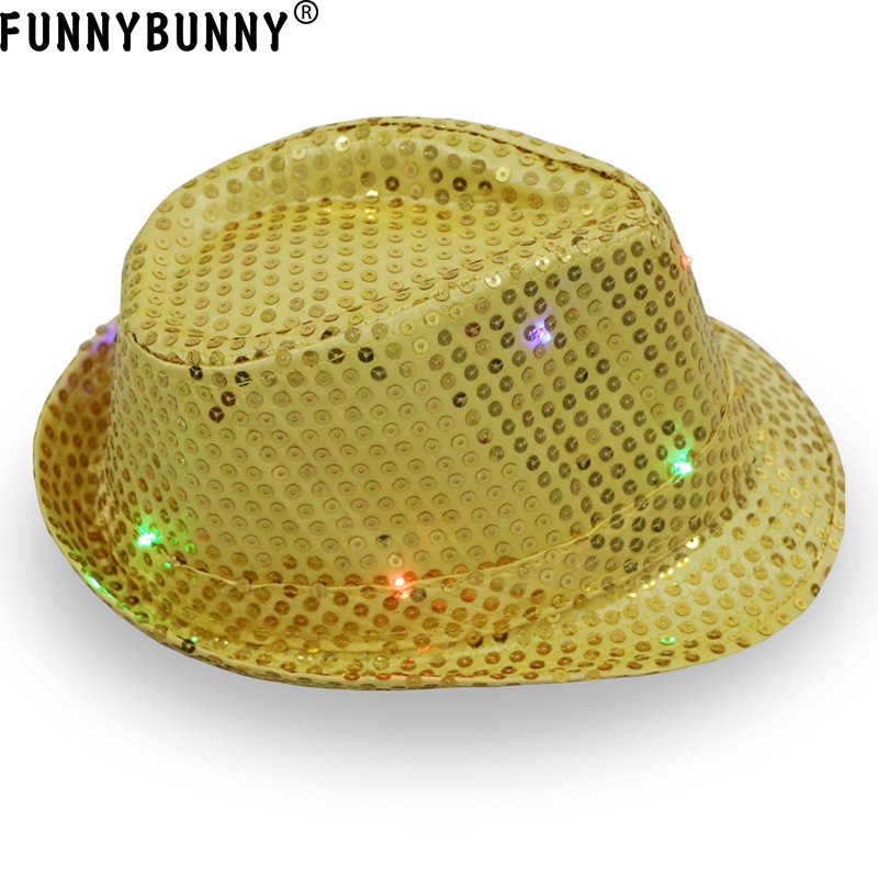 FUNNBUNNY 2PCS DB LED Flashlight Fedora hat Unisex Colorful Suitable for Party and Club Light up The Night