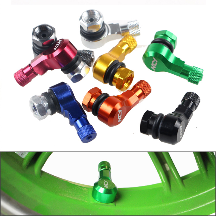 CNC Motorcycle 90 Degree 11.3mm(0.453 Inches) Wheel Tire Tubeless Rim Valve Stems Tubeness Sportbike Leak Proof Vacuum
