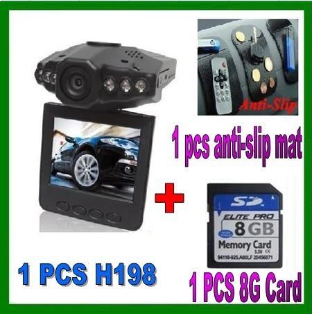 best selling+free shipping+H198 Car DVR Camera 1PCS + 8GB card 1pcs + Anti-Slip Mat 1pcs=1 lot (3 different models)