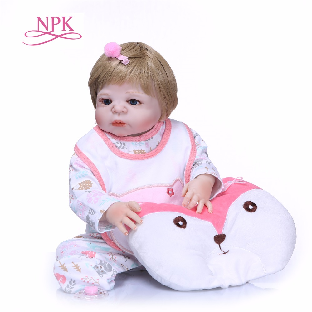 NPK 55cm full Silicone Reborn Baby Doll Toy For Girls NewBorn Girl Baby Birthday Gift To Child Bedtime Early Education Toy цена