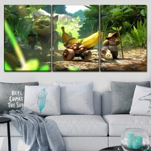 Canvas Paintings Decor Framework Home HD Prints 3 Pieces Cat Warrior And Banana Poster  For Living Room Wall Art Pictures