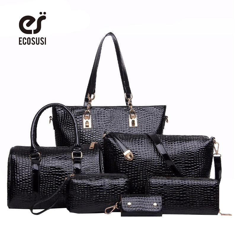 ФОТО ECOSUSI 6 PCS/Set Women Bag Crocodile Pattern Composite Bag Stone Women Messenger Bags Shoulder Handbag Purse PU Leather Handbag