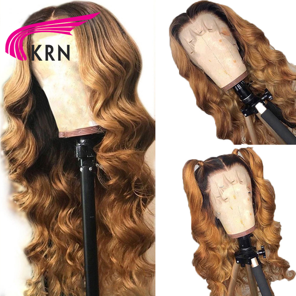 KRN 13x6 lace front Honey Blonde Brazilian Remy Human Hair Pre picked Hairline beautiful ombre wig