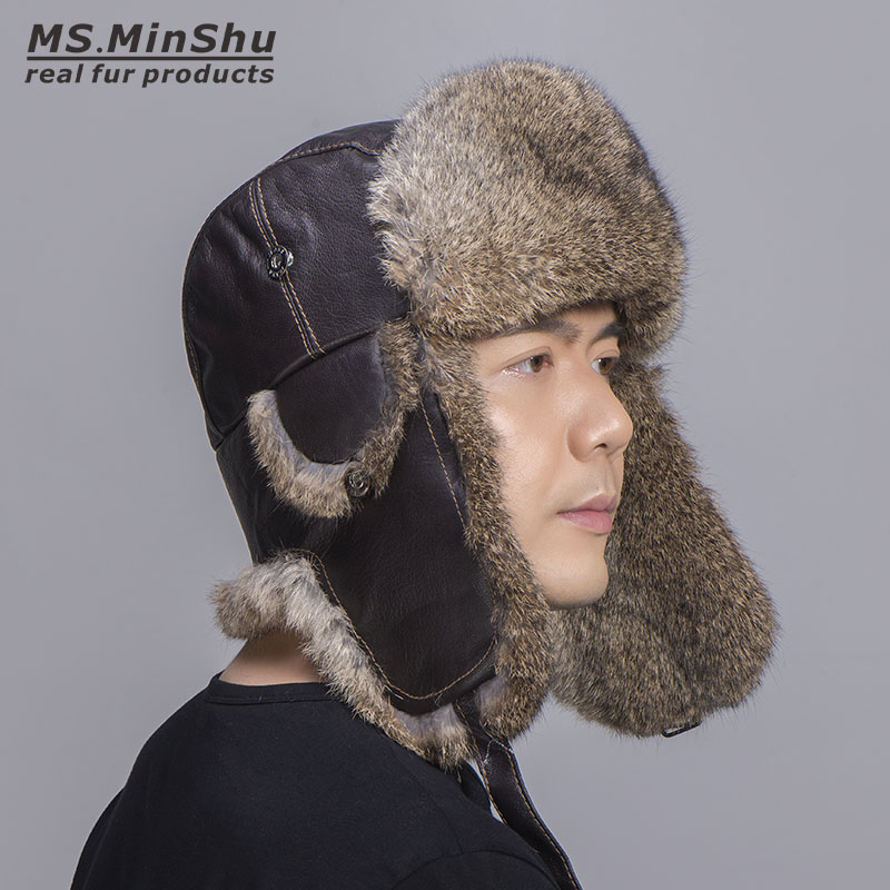 MS MinShu Russian Rabbit Fur Hat Skiing Cap Natural Rabbit Fur Hat with Real Sheep Leather
