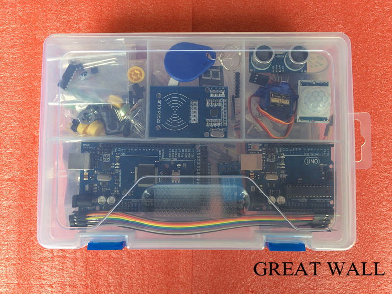 Starter Kit for arduino UNO r3 with MEGA 2560 /Lcd1602 I2C /Hc-sr04 /Sg90/HC-SR501/RC522/Dupont cable in plastic box arduino kit