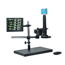 On sale 1080P VGA Full HD Digital Industrial Microscope Camera+300X C-mount Lens+Big Boom Table Stand+8″ inch LCD Monitor+144 LED Light
