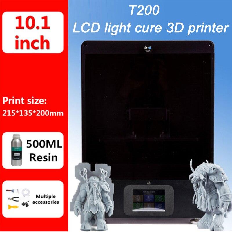Tianfour novo T200 SLA/DLP/LCD 3D Printer 215*135*200 milímetros volume de impressão de alta Precisão impresora 2 K diy 405nm UV Resina