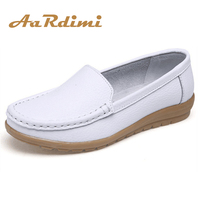Genuine Leather Summer Women Flats Shoes Female Casual Flat Shoes Women Loafers Shoes Slips Soft Leather