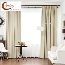 byetee Blackout font b Curtains b font For Living Room Custom Linen Solid Color Thick