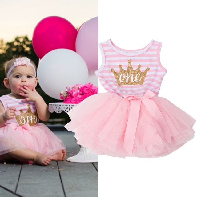 12 24M Toddler Infant Stripe Crown Tutu Dress Girl Party Wear ...