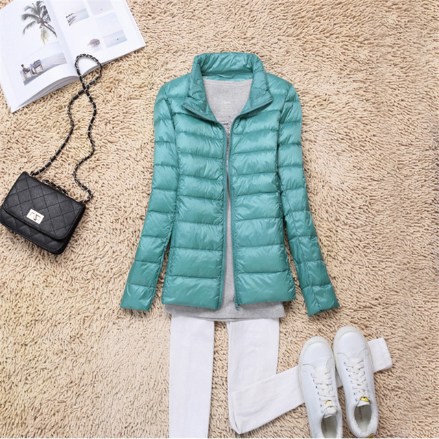 Sanishroly 2018 New Autumn Winter Women Thin White Duck Down Jacket Parka Female Ultra Light Down Coat Short Tops Plus Size S268 2