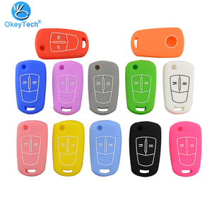 Image 1 - OkeyTech Good Quality Silicone Car Key Cover Case For Opel Vectra C Astra H Corsa D Zafira 2 Buttons Flip Folding Remote Key