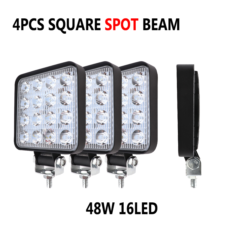 4X 4 inch 48W 16LED Car Work Light Spot Beam LED Bar For Jeep Motorcycle Tractor Boat Off Road 4WD 4x4 Truck SUV ATV