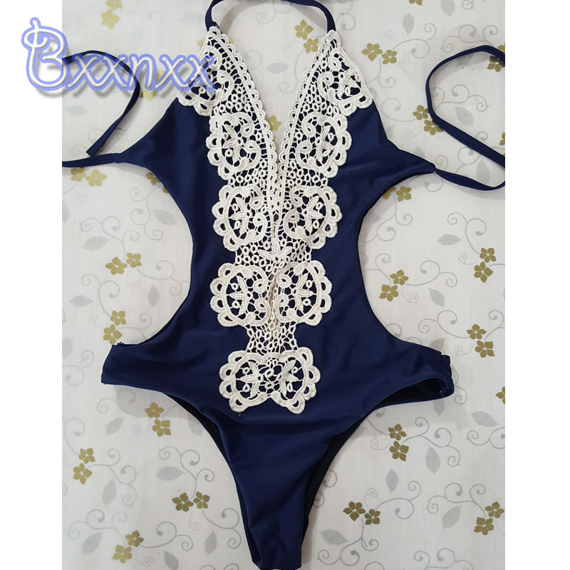 New Sexy Lace Deep V White One Piece Swimsuit Women Vintage White Blue High Cut Monokini Backless Thong Beach Bathing Suit one piece swimsuits trikinis high cut thong swimsuit sexy strappy monokini swim suits high quality denim women s sports swimwear