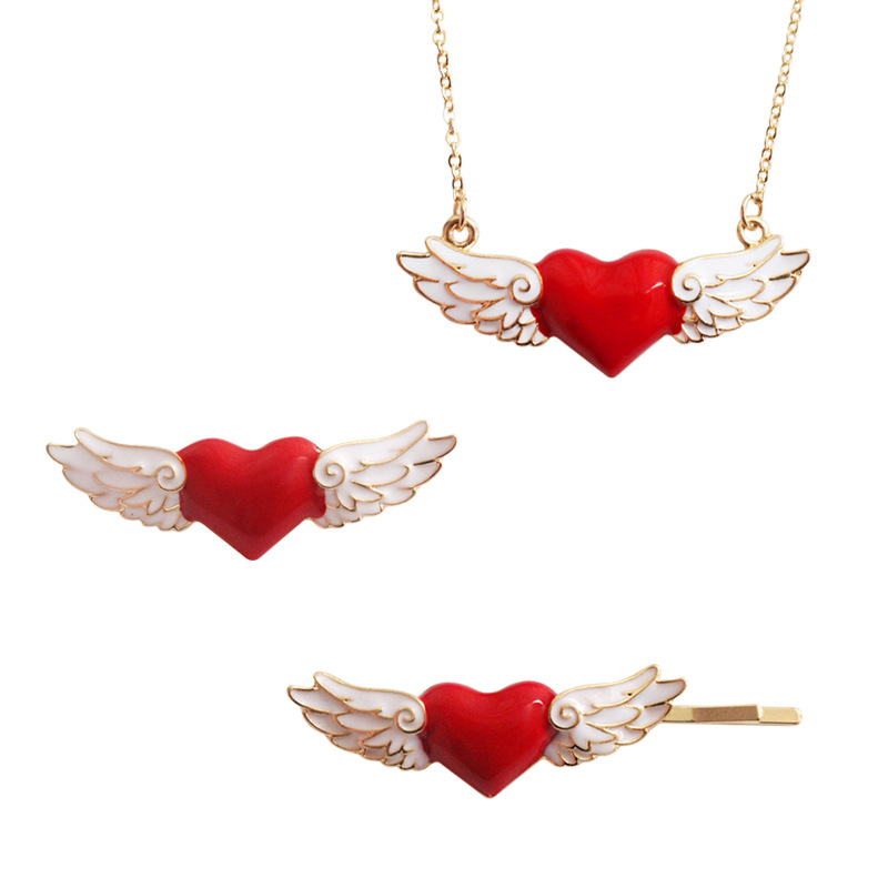 Cardcaptor Sakura Clear Card Love Angel Wing Emblem Badge Necklace Hairpin