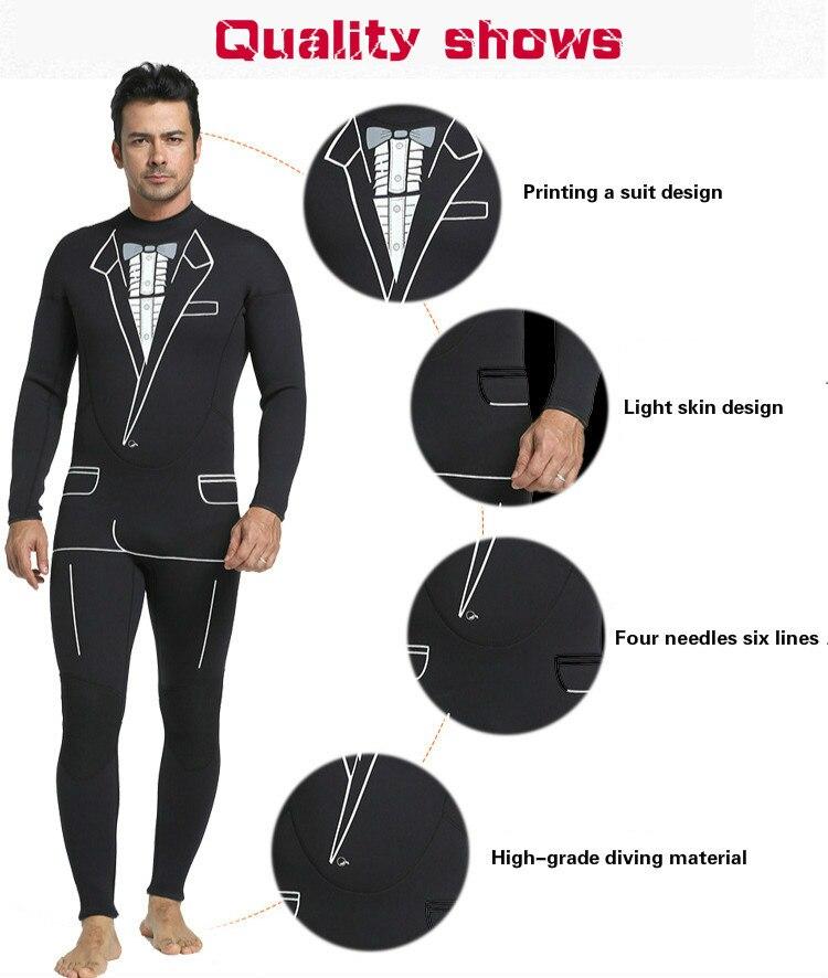 Combinaison de plongée continue 3mm pour hommes combinaison de surf pantalon à manches longues pour combinaison de plongée individuelle - 6