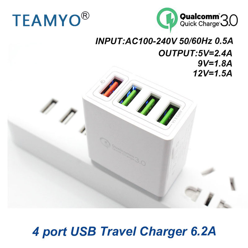 4 Ports travel charger 6.2A Quick Charge 3.0 USB Charger Fast Charger For Samsung Galaxy S8 Xiaomi 5 iPhone Adapter EU/US Plug4 Ports travel charger 6.2A Quick Charge 3.0 USB Charger Fast Charger For Samsung Galaxy S8 Xiaomi 5 iPhone Adapter EU/US Plug