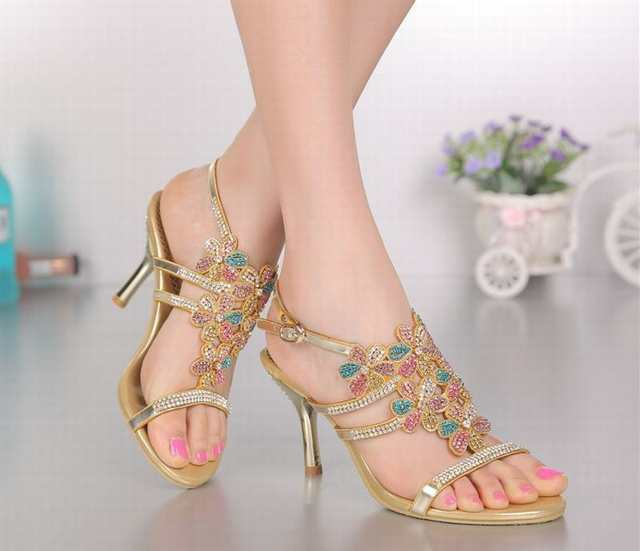 6f009dc62283 Online Shop brand 2018 women thin high heels sandals colorful rhinestone  flowers bohemia sandalias summer party wedding pumps shoes female