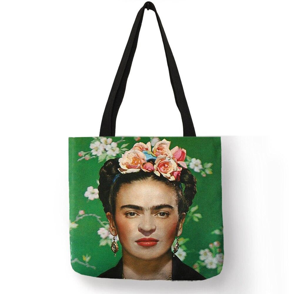 Exklusive Frida Kahlo Gedruckt Einkaufstasche Frauen Mode Totes Wiederverwendbare Einkaufs Reisetaschen Klappaufbewahrungstasche Kleidung Lebensmittel